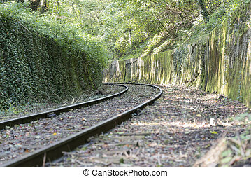railroad track   - railroad track in the forest