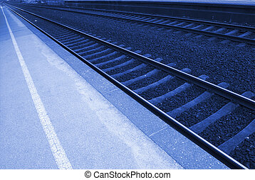 Railroad track - Railway lines at a train station...