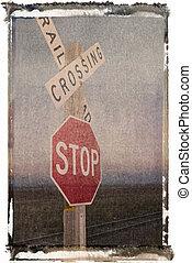 Railroad track signs.
