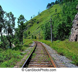 Railroad track, summer. Front view, blue sky.