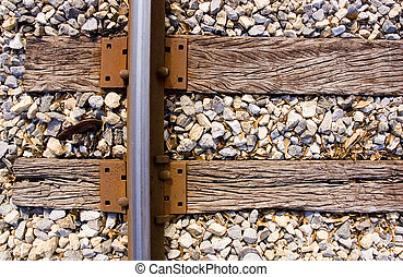 Railroad Track Ties - Looking down on the rail of a railroad...