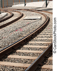 Railroad track - Tracks of the light rails in Denver,...