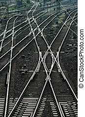 Railroad tracks and Switches near a train station