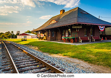 Railroad tracks and the train station in New Oxford,...