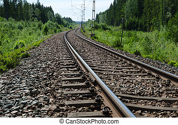 Railroad tracks closeup at a green landscape in a low...