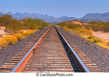 Railroad Tracks - Desert railroad tracks in the Arizona...