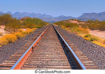 Railroad Tracks - Desert railroad tracks in the Arizona...