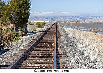 Railroad Tracks Fading into Distance