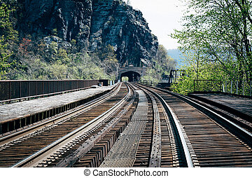 Railroad tracks in Harpers Ferry, West Virginia.