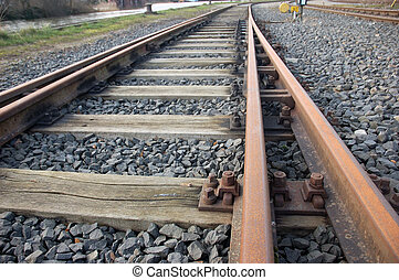 railroad tracks with switchblade close-up