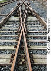 railroad tracks - rosty railroad tracks