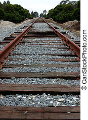 Railroad Tracks - directional view of railroad tracks