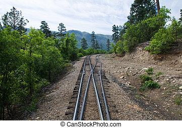 Railroad tracks through the mountains between Durango and...