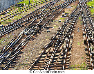 Railroad tracks. Top view. - The panorama of railroad...