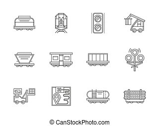 Railroad traffic and cars flat line vector icons
