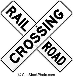 Road sign of train crossing road on white background