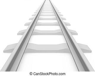 Railroad train tracks - 3D rendering of a railroad track on...