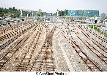 Railroad Train Yard and Tracks Geneva Switzerland - Geneva,...