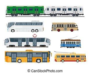 Railroad trains and streetcars public transportation ...