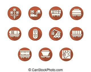 Railroad transportation round flat vector icons