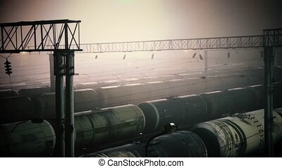 Railroad transportation tank with oil in