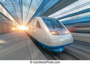 Railroad travel passenger train with motion blur effect, concept tourism.