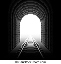 Detailed vector illustration of a railroad at the end of a tunnel.