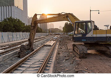 Railroad under construction and disorderly and unsystematic