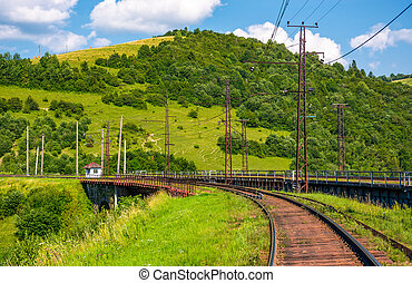 railroad viaduct through forested hills in summer. lovely...
