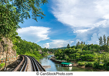Railroad with blue sky and river