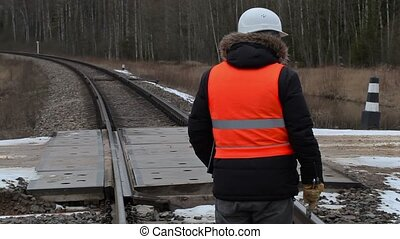 Railroad worker with documentation