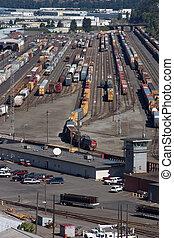 Railroad yard filled with trains in Portland, Oregon.