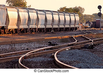 Railroad Yards - Mixed freight in railcars in Detroit...