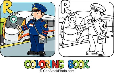 Railroader coloring book. Alphabet R. Profession