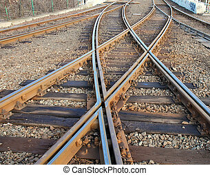 Rails crossing - Closeup photo about interwaved rails.