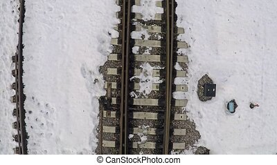 Rails in snow. Aerial shot