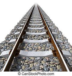rails, lines, на, бетон, sleepers