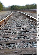 Rails - railroad tracks leading into the distance