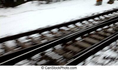 Railway tracks in snow