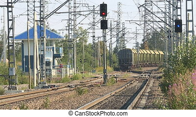 Rails, wagons, train and wheel knock. - Diesel locomotive...
