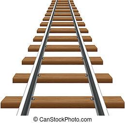 rails, with, деревянный, sleepers, вектор