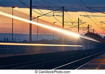 Light trails of passenger train