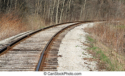 Railway Bend - A bend in a railroad track.