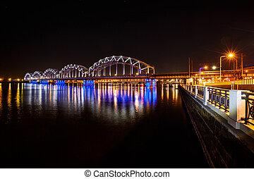 Railway bridge at night