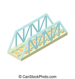 Railway bridge icon, cartoon style