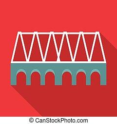 Railway bridge icon, flat style
