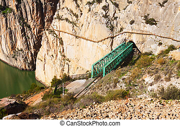 Railway bridge in rocky and Caminito del Rey