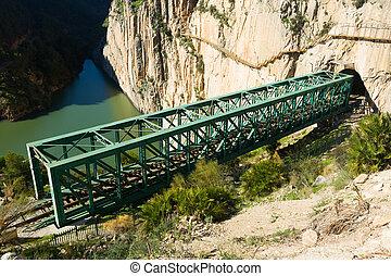Railway bridge in rocky mountains