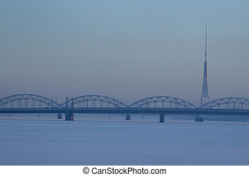 Railway bridge in winter time, Riga.
