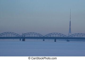 Railway bridge in winter time, Riga.